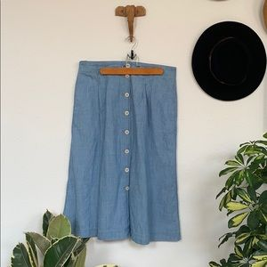 Madewell Chambray Patio Button-Front midi skirt